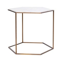 Nob Hill Large Side Table by Yabu Pushelberg in Smoked Bronze and Calacatta