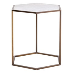 Nob Hill Side Small Side Table by Yabu Pushelberg in Smoked Bronze and Calacatta