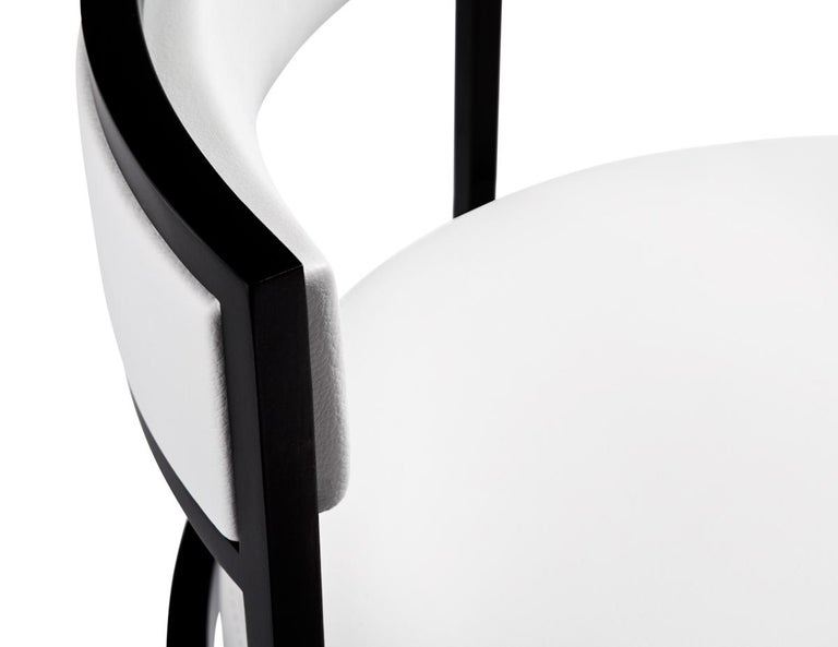 Modern Nobi Swivel Bar Stool with White Leather Seat by Powell & Bonnell For Sale