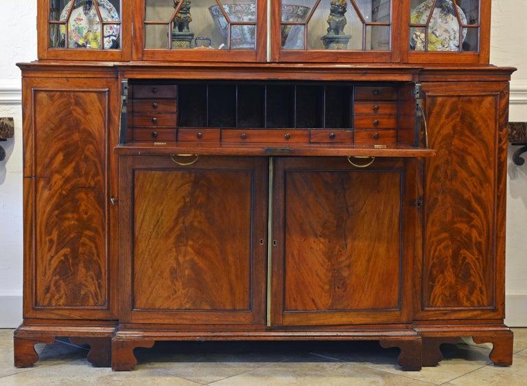 Georgian Noble Early 19th Century George III Mahogany Breakfront Secretary Bookcase