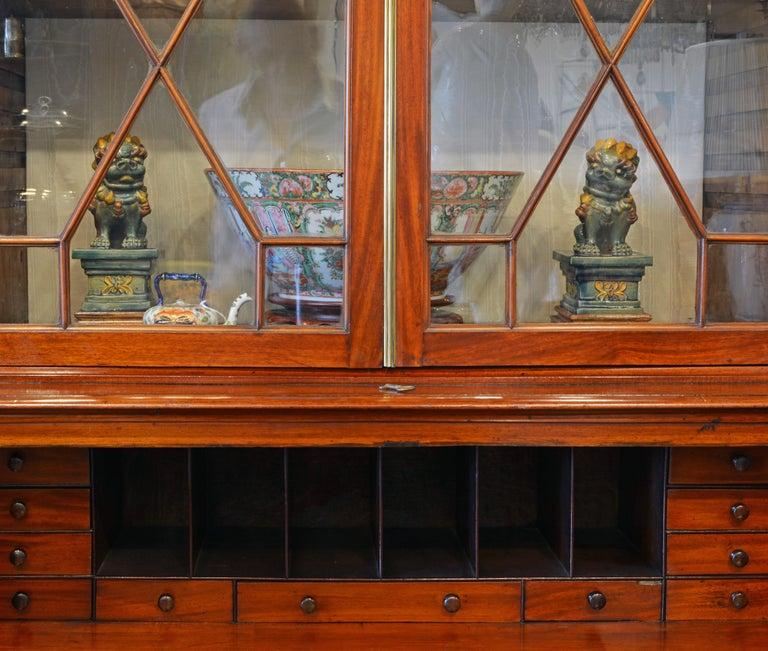 English Noble Early 19th Century George III Mahogany Breakfront Secretary Bookcase