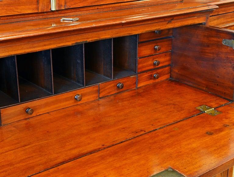 Brass Noble Early 19th Century George III Mahogany Breakfront Secretary Bookcase