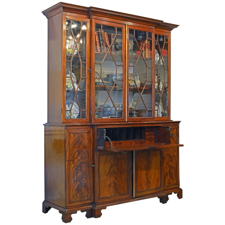 Noble Early 19th Century George III Mahogany Breakfront Secretary Bookcase