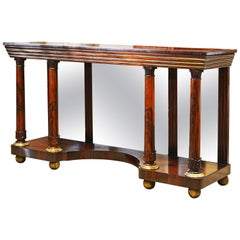 Noble English 19th Century Rosewood, Brass Trimmed and Mirrored Console Table