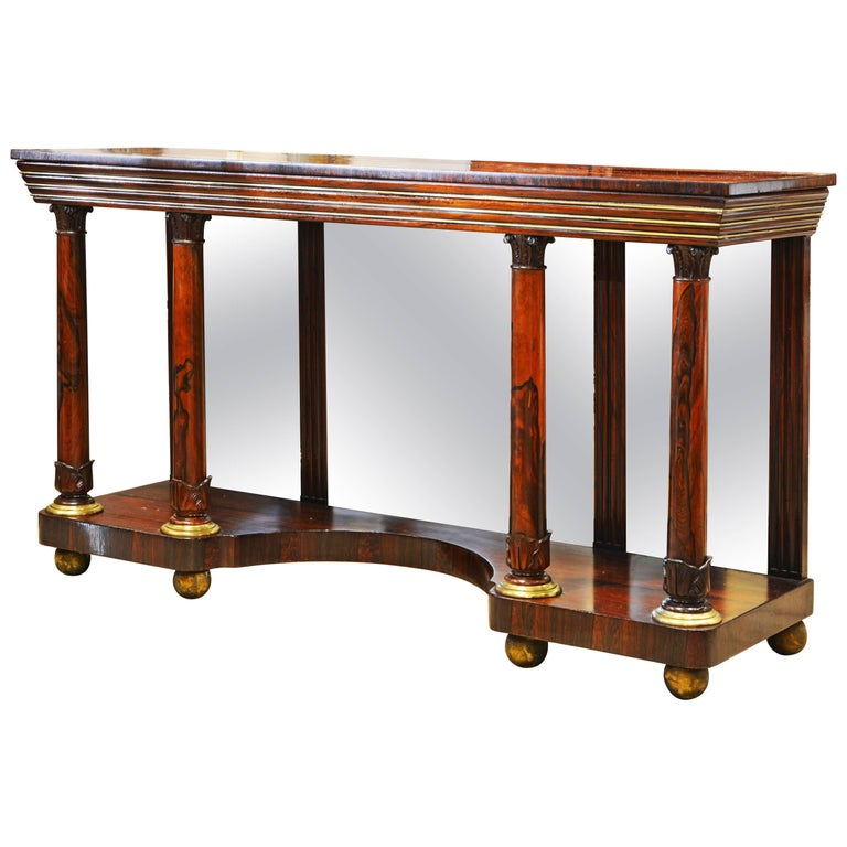 Noble English 19th Century Rosewood, Brass Trimmed and Mirrored Console Table For Sale