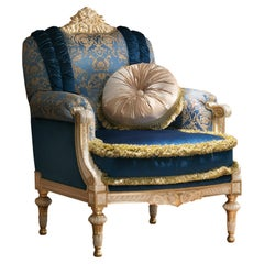 Noble Venetian Armchair in Blue and Gold Fabrics with Pillow