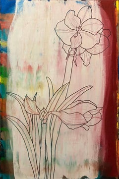 Abstract Flowers Oil Painting Study for Amaryllis
