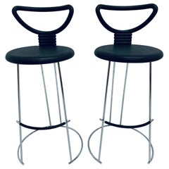 "Nobu Tanigawa ""Nardis"" Chrome Bar Stools for Fasem Italy, Set of Two"