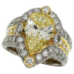 Nobuko Ishikawa Fancy Light Yellow Diamond 18 Karat Yellow Gold Platinum Ring