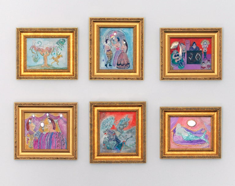 Noche Crist Pink Fantasy Surreal Painting Nude Outsider Art In Excellent Condition For Sale In Washington, DC