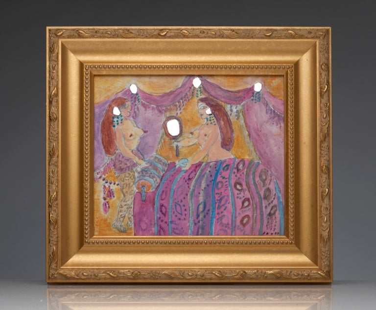 Contemporary Noche Crist Pink Fantasy Surreal Painting Nude Outsider Art For Sale