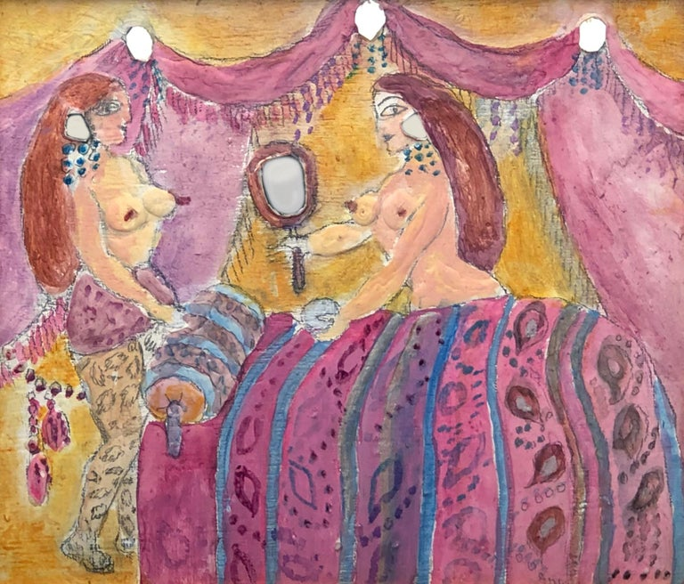 One of a kind painting by Noche Crist (1909- 2004). Noche Crist was an American artist born in Romania. Acrylic painting is made with plaster on wood and small pieces of mirror, which gives the painting a wonderful texture and depth. Painting is