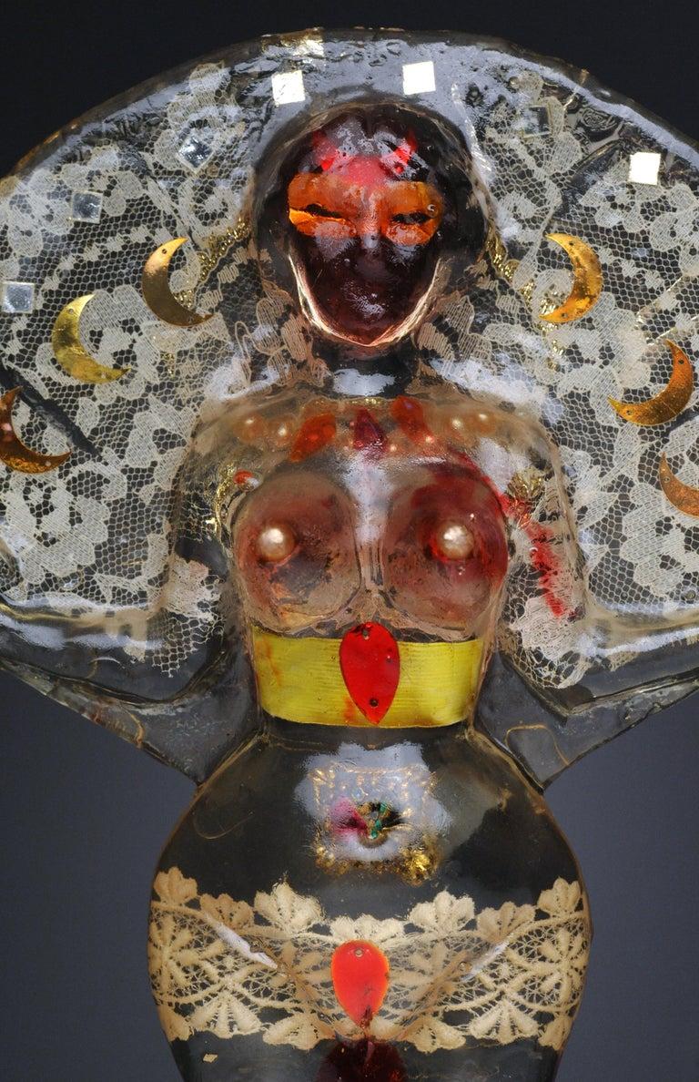 American Noche Crist Romanian Female Colorful Nude Resin Sculpture, 1970 For Sale