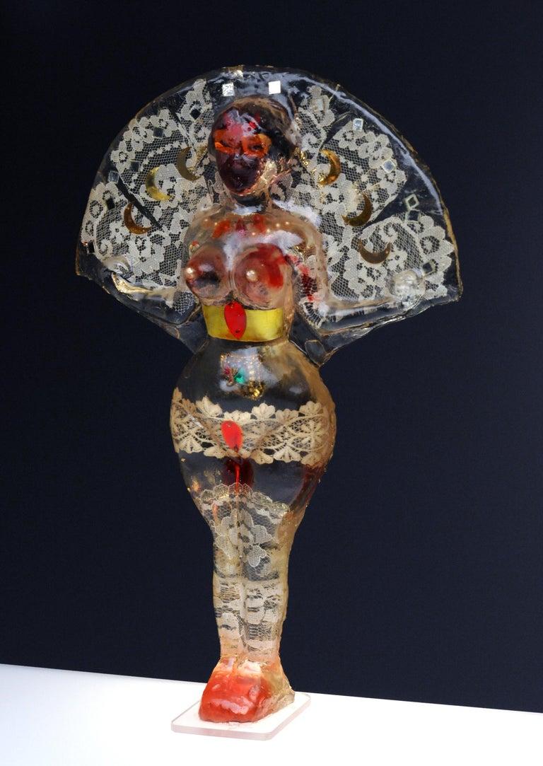 Noche Crist Romanian Female Colorful Nude Resin Sculpture, 1970 In Distressed Condition For Sale In Washington, DC