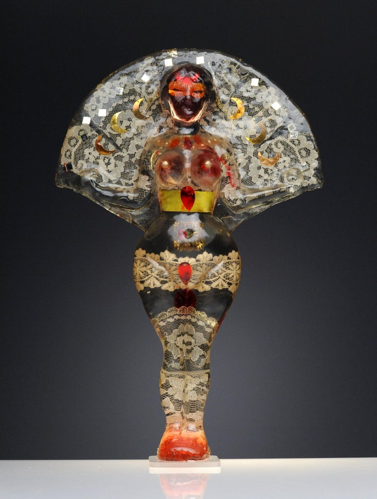 Noche Crist Romanian Female Colorful Nude Resin Sculpture, 1970 For Sale 2