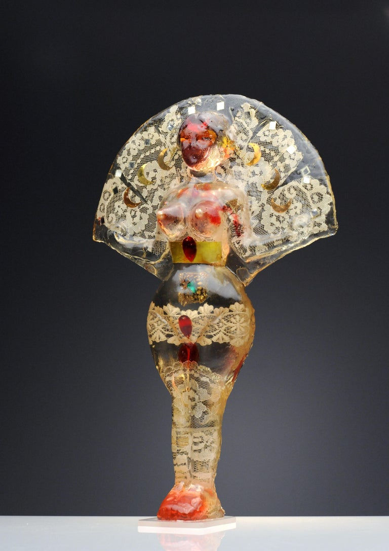 Noche Crist Romanian Female Colorful Nude Resin Sculpture, 1970 For Sale 5