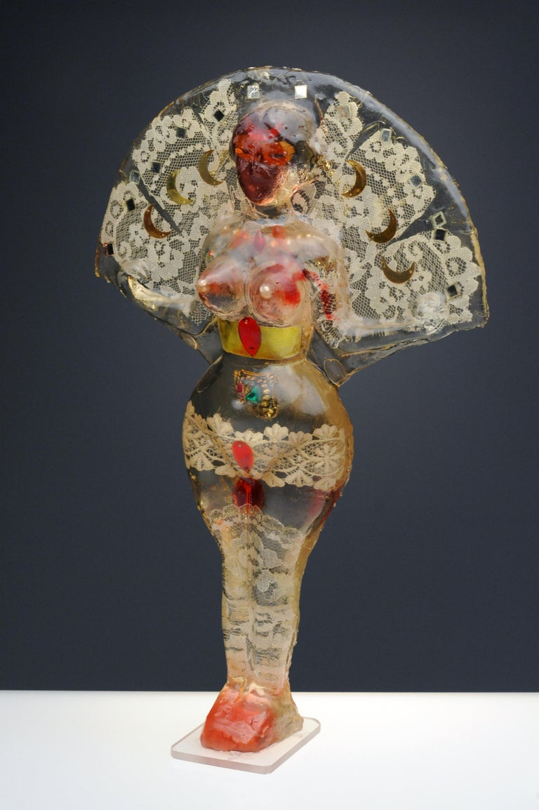 Noche Crist Romanian Female Colorful Nude Resin Sculpture, 1970 For Sale 6