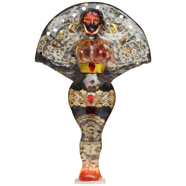 Noche Crist Romanian Female Colorful Nude Resin Sculpture, 1970 For Sale