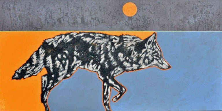 "Nocona Burgess Animal Painting - ""Rare Moon Coyote"""