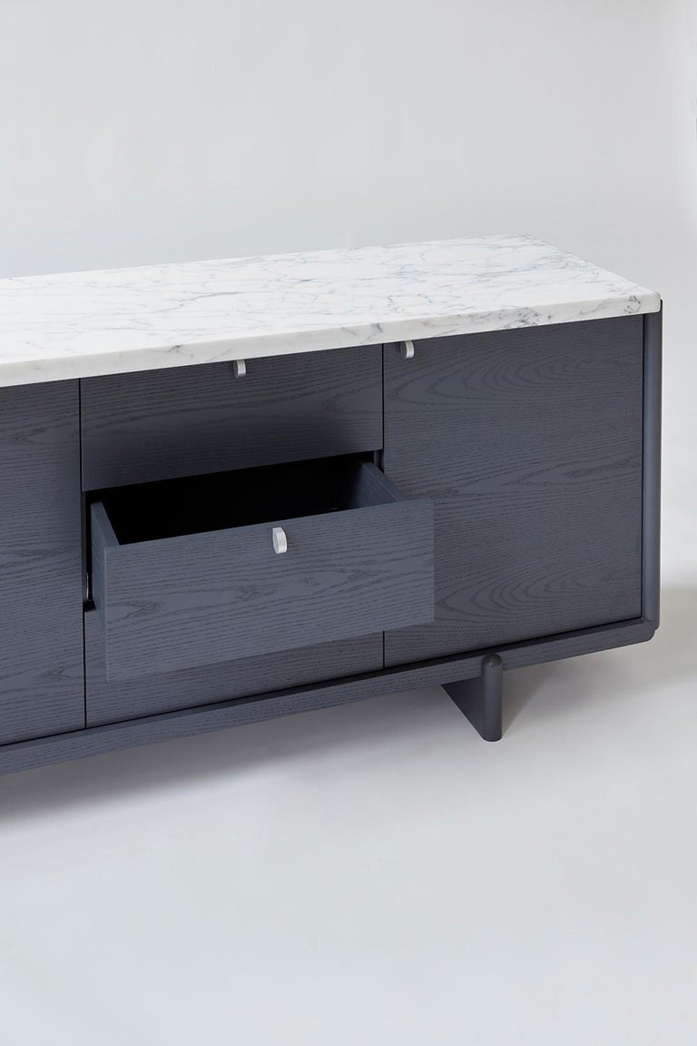 American Nocturne Credenza with Slate Lacquer Finish and Calacatta Marble For Sale