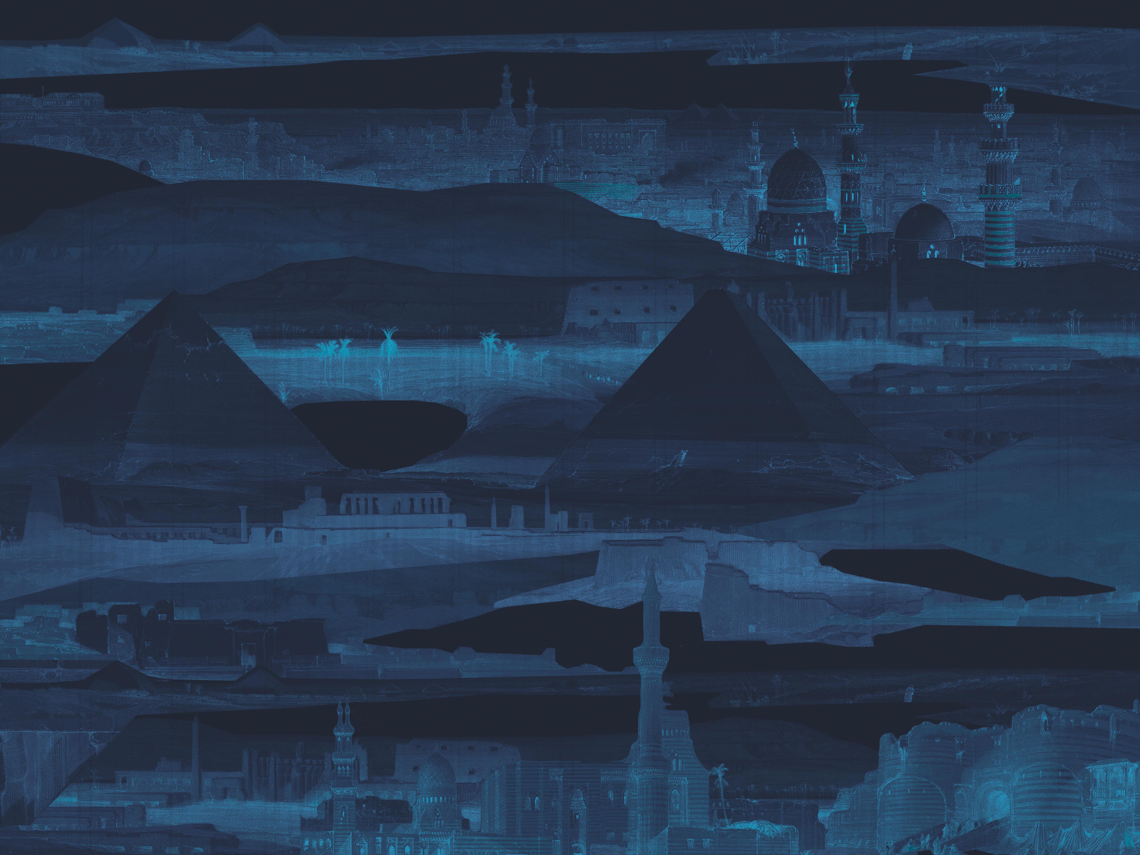 Nocturnes d'Egypte - custom mural wallpaper (midnight blue)
