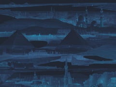 Nocturnes d'Egypte - custom mural wallpaper (midnight blue)