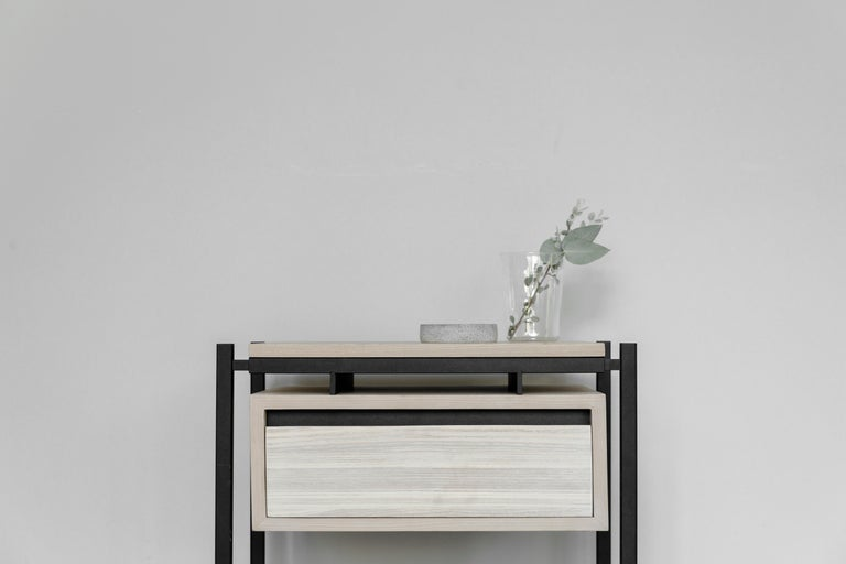 Bed table with drawer and cover in ash veneer on steel structure in electrostatic paint.