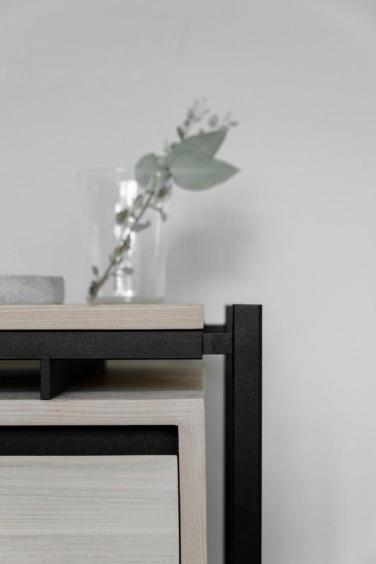 Modern Nodo Steel and Ash Veneer Bed Table For Sale