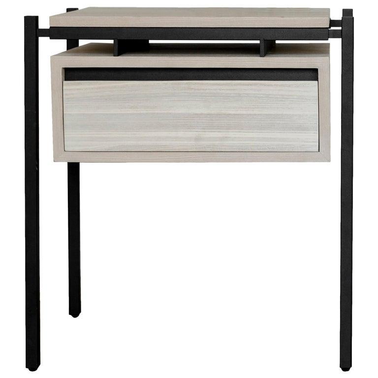 Nodo Steel and Ash Veneer Bed Table For Sale