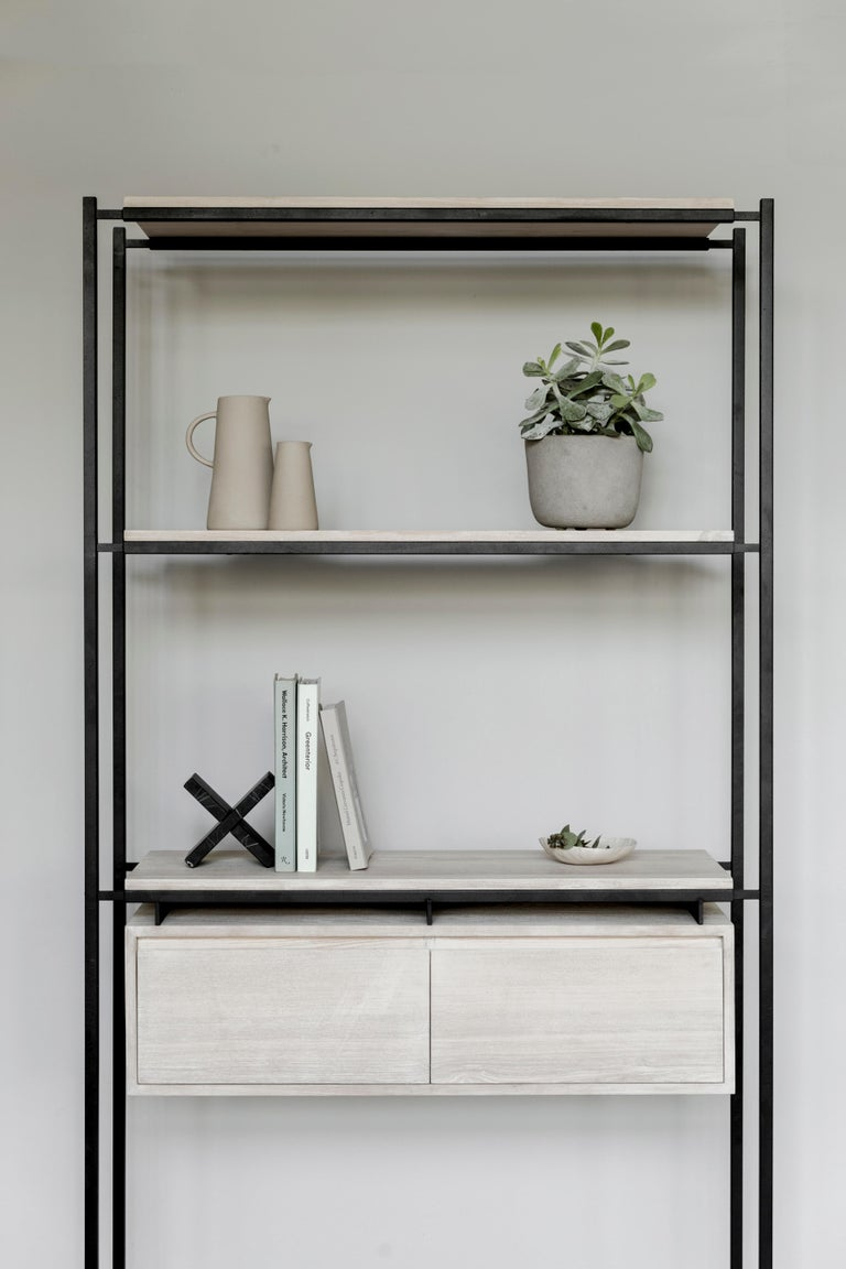 Modern Nodo Steel and White Oak Veneer Bookcase For Sale