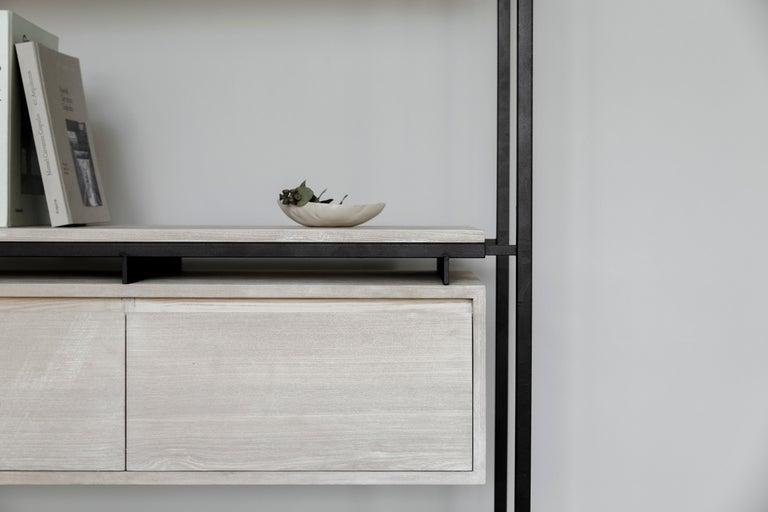 Powder-Coated Nodo Steel and White Oak Veneer Bookcase For Sale