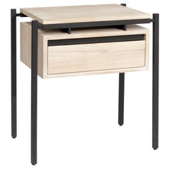 Nodo Steel and White Oak Veneer Bed Table