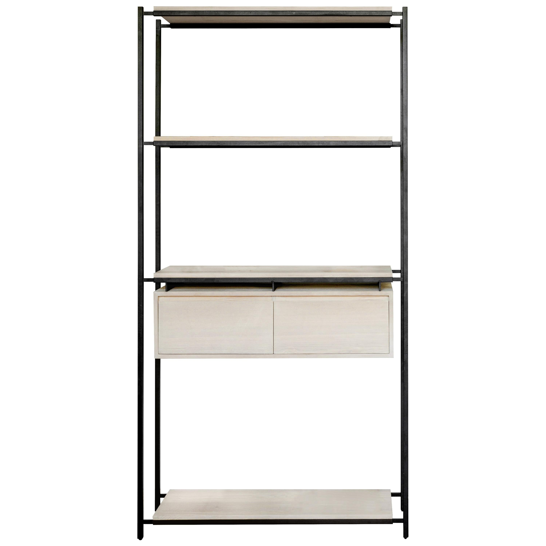Nodo Steel and White Oak Veneer Bookcase