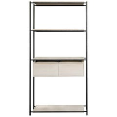 Nodo Steel and White Oak Veneer Bookcase
