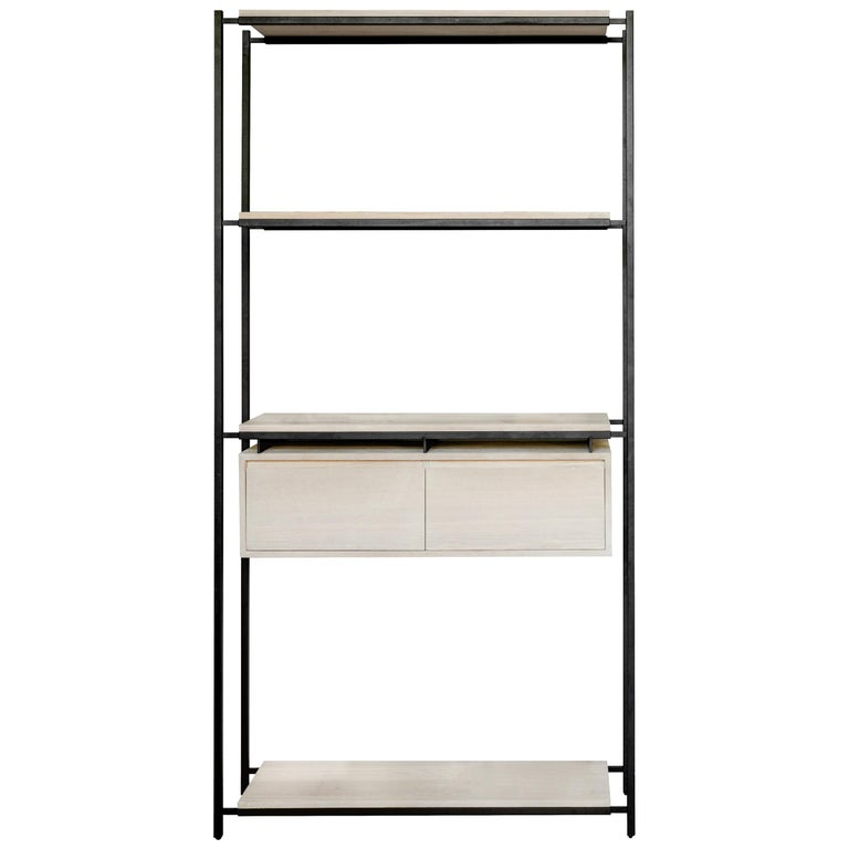 Nodo Steel and White Oak Veneer Bookcase For Sale