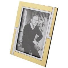 Noel B.C. Italy 1970s Modernist Chrome and Brass Picture Photo Frame