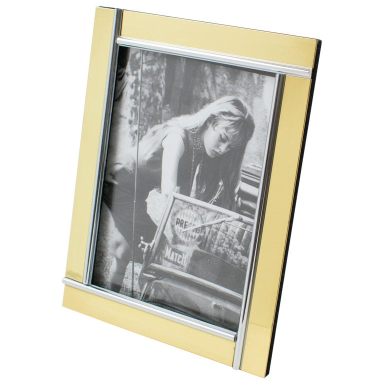 Noel B.C, Italy, 1970s Modernist Picture Photo Frame Chrome and Brass For Sale