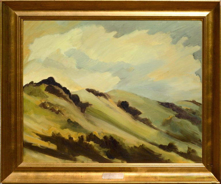 """Marin Hills by Noel Howard (American, 20th century) was painted in 1968 while the artist was living in Marin county. This plein aire oil is signed, Noel Howard, in the lower right corner and is presented in a gilt-wood frame. Image, 24""""H x 30""""W."""