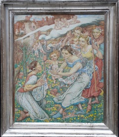 The Birth of Summer - British figurative 1941 art oil painting female artist