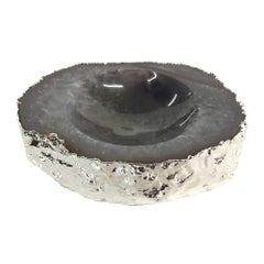 Noemi Polished Agate Bowl in Natural and Silver Stone by CuratedKravet