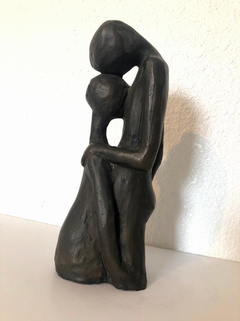 Israeli Bronze Modernist Sculpture Lovers Embracing Kibbutz Social Realist Art For Sale 1