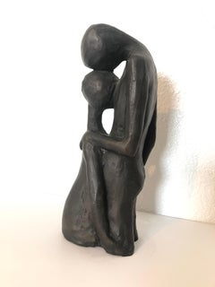Israeli Bronze Modernist Sculpture Lovers Embracing Kibbutz Social Realist Art