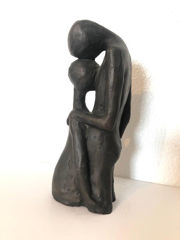 Noemi Schindler Figurative Sculpture - Israeli Bronze Modernist Sculpture Lovers Embracing Kibbutz Social Realist Art