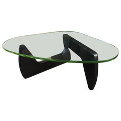 Noguchi Style Glass and Wood Coffee Table