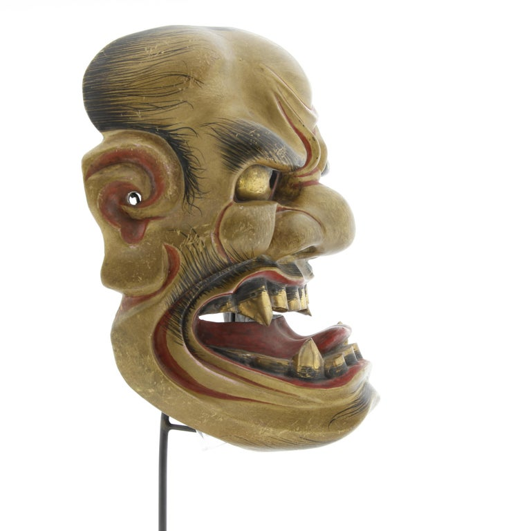 Arts and Crafts Noh Mask of a Fierce God, Actor, Japanese Theatre, Drama, 19th Century Woodcraft For Sale