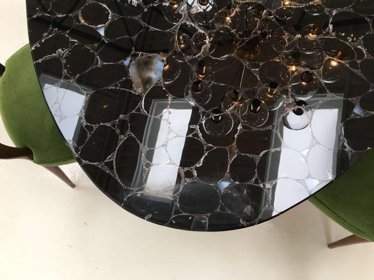 'Noir Désir' Black Agate Gemstone Dining Table / Executive Desk with Brass Legs 2