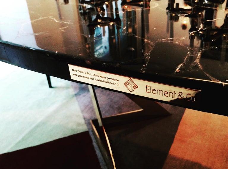 'Noir Désir' Black Agate Gemstone Dining Table / Executive Desk with Brass Legs 4