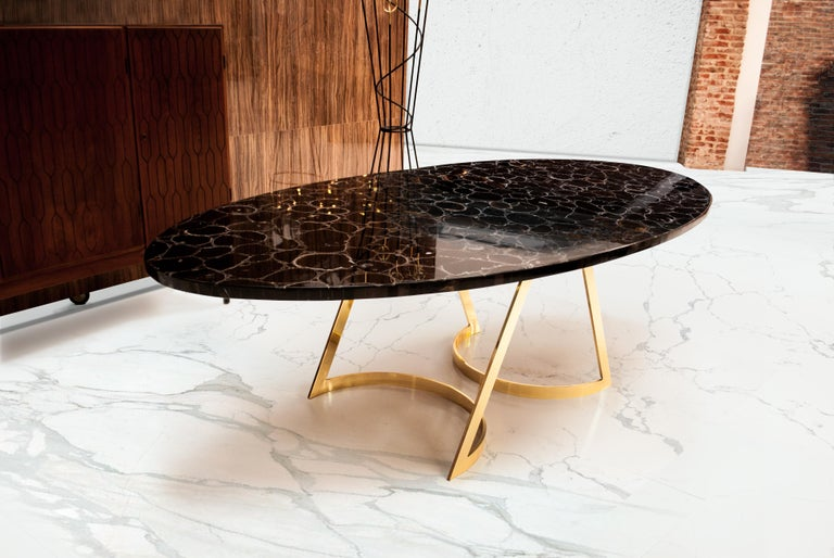 Polished 'Noir Désir' Black Agate Gemstone Dining Table / Executive Desk with Brass Legs For Sale