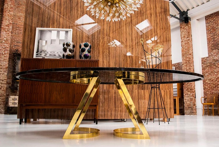 'Noir Désir' Black Agate Gemstone Dining Table / Executive Desk with Brass Legs In New Condition For Sale In Madrid, ES