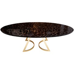 'Noir Désir' Black Agate Gemstone Dining Table / Executive Desk with Brass Legs